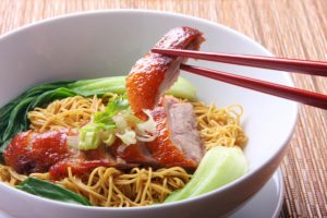 Chinese noodle bowl with pork